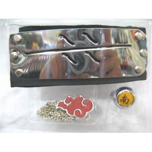 NARUTO Banda para la cabeza, anillo y pendiente akatsuki (A)